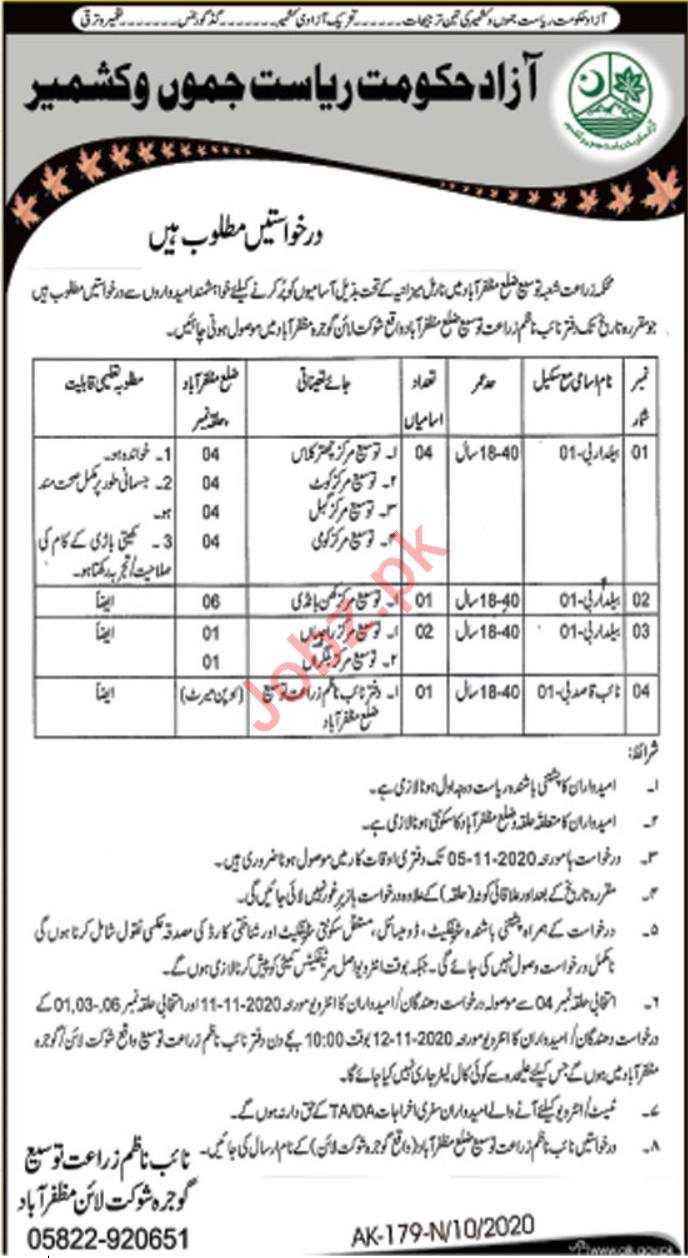 Agriculture Extension Department AJK Jobs 2020 for Baildar