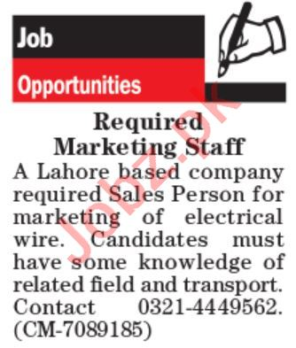 Sales Person & Sales Manager Jobs 2020 in Lahore