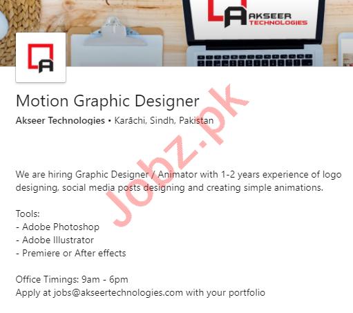 Akseer Technologies Jobs 2020 for Motion Graphic Designer