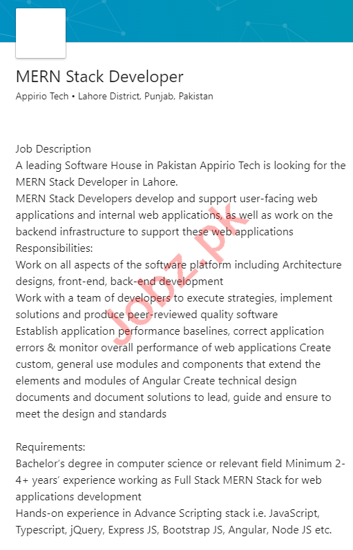Appirio Technologies Lahore Jobs for Mean Stack Developer