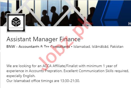 BNW Accountants & Tax Consultants Islamabad Jobs 2020
