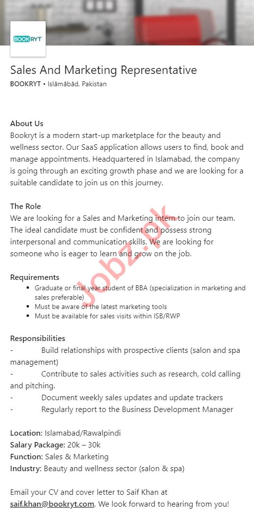 Bookryt Islamabad Jobs 2020 Sales & Marketing Representative