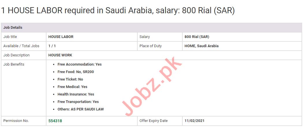 House Labor & Labor Jobs 2020 in Saudi Arabia