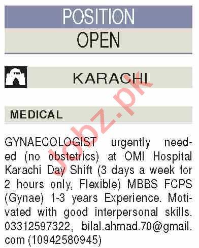 Lady Doctor & Gynecologist Jobs 2020 in OMI Hospital Karachi