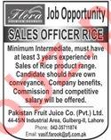 Sales Officer Jobs 2020 in Pakistan Fruit Juice Co Lahore