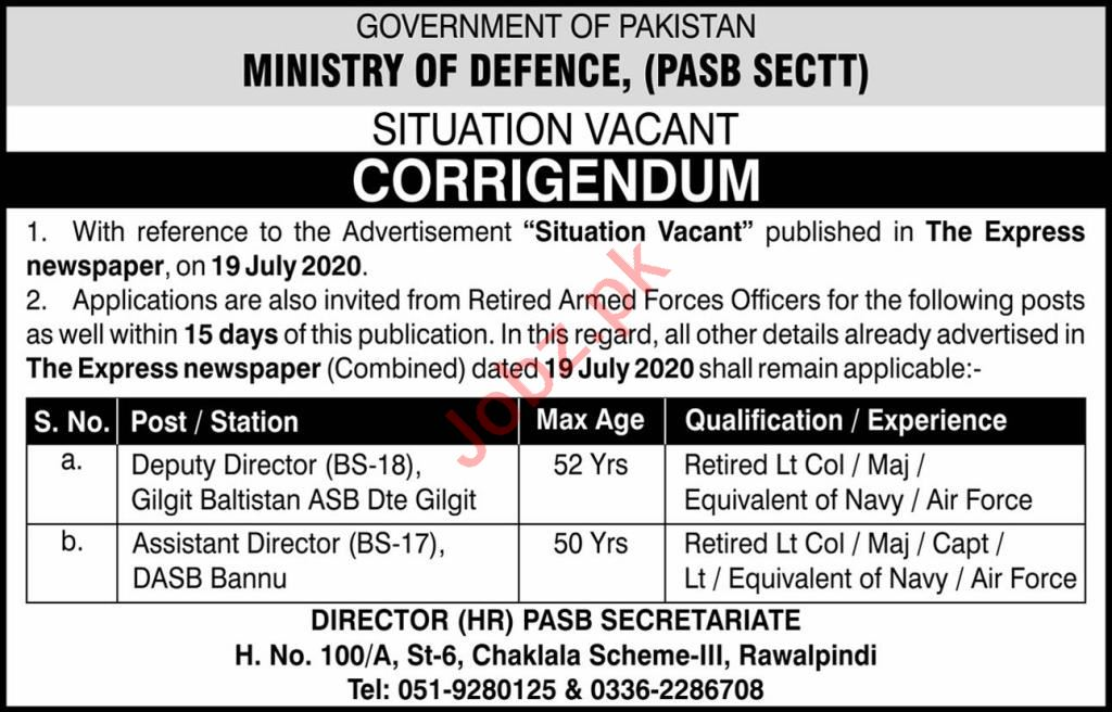 Pakistan Armed Services Board PASB Jobs 2020 for Director