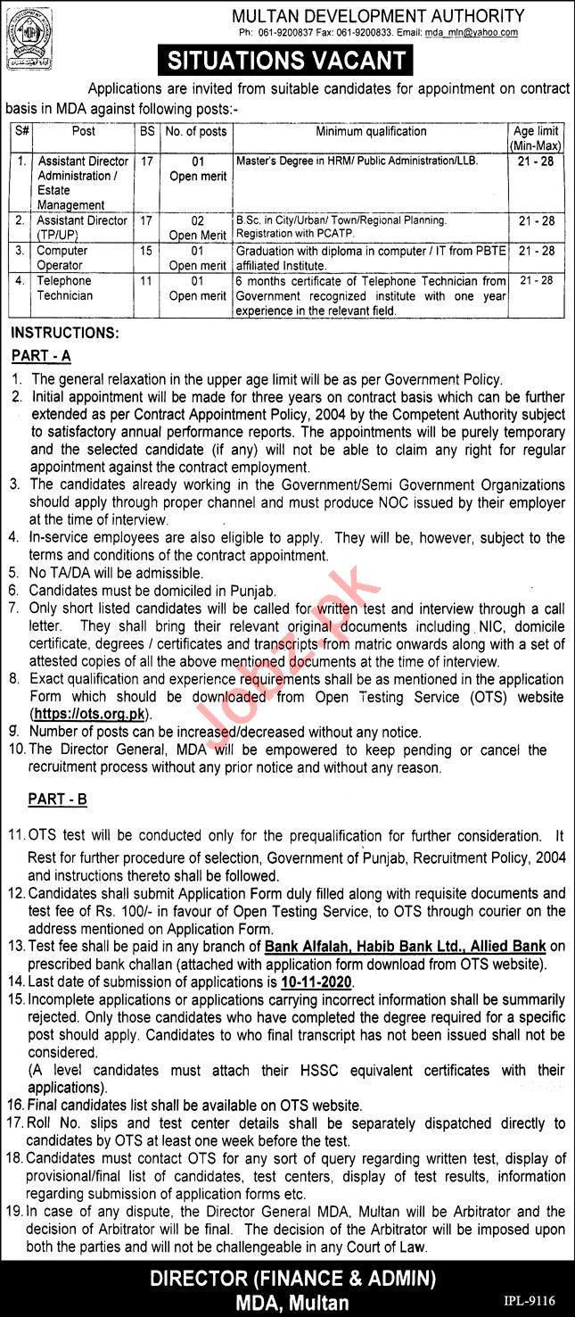 Multan Development Authority MDA Jobs for Assistant Director