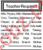 Lady Teacher & Subject Teacher Jobs 2020 in Multan