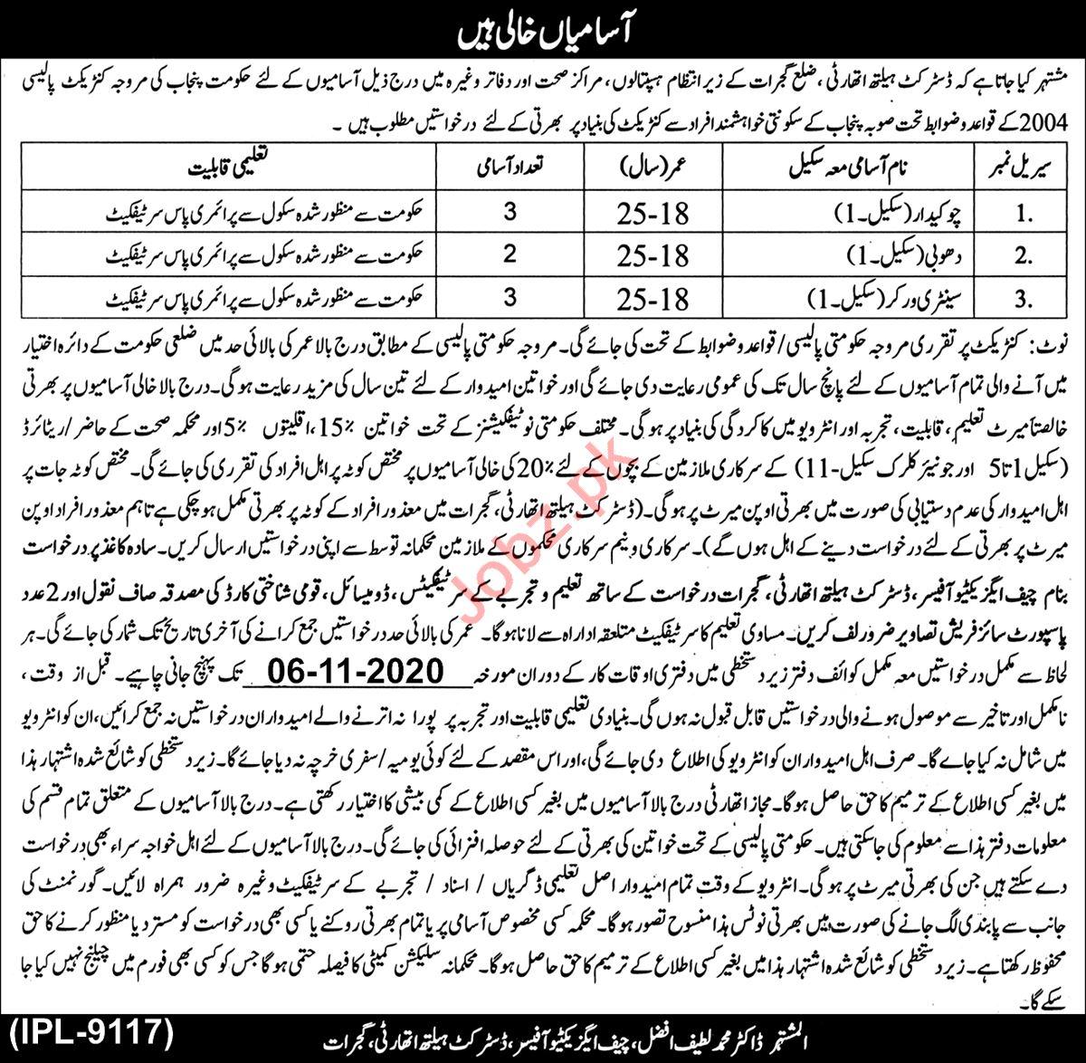 Primary & Secondary Healthcare Department Gujrat Jobs 2020