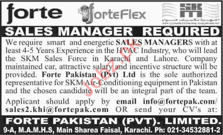Sales Manager & Manager Jobs 2020 in Forte Pakistan