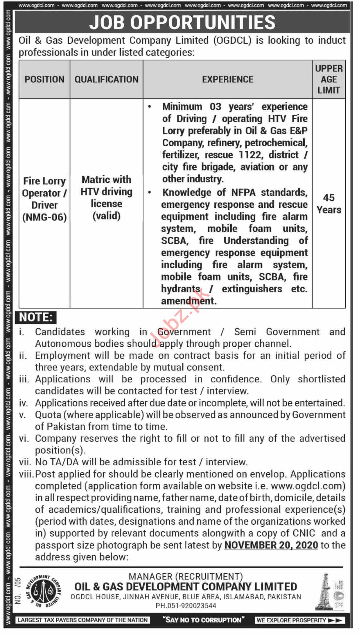 Fire Lorry Operator & Driver Jobs 2020 in OGDCL Islamabad