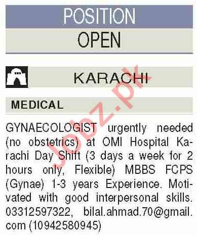 Doctor & Gynecologist Jobs 2020 in OMI Hospital Karachi