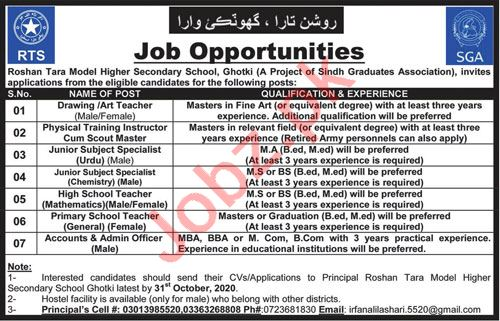 Roshan Tara Model Higher Secondary School Ghotki Jobs 2020