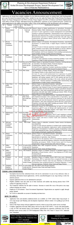 Kohat Division Development Project P&DD Peshawar Jobs 2020