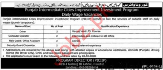 Punjab Intermediate Cities Improvement PICIIP Jobs 2020