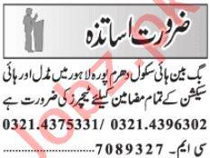 Vice Principal & Teacher Jobs 2020 in Lahore