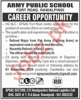 Army Public School & College APS&C Fort Road Rawalpindi Jobs