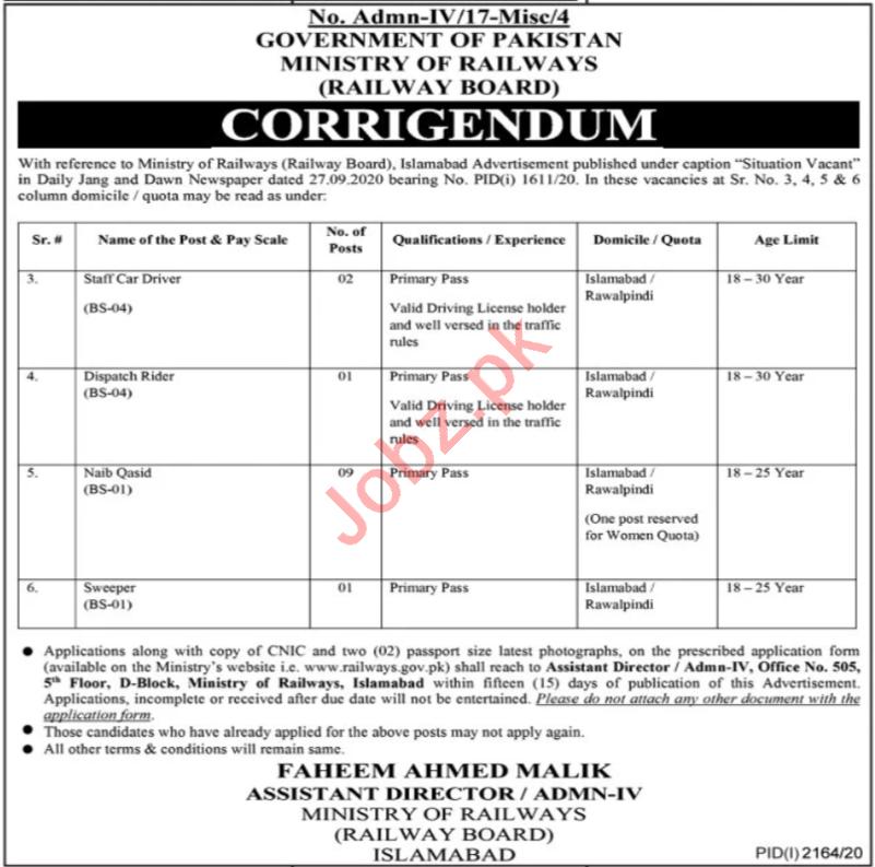 Railway Board Islamabad Jobs 2020 for Driver & Naib Qasid