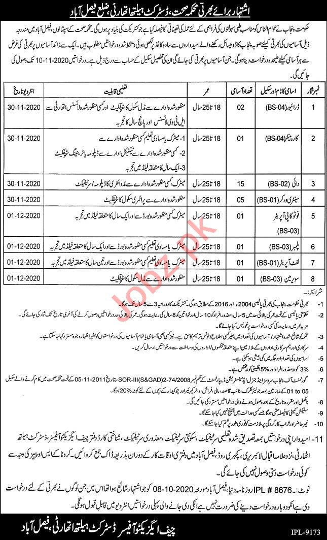 Health Department Faisalabad Jobs 2020 for Driver & Dai