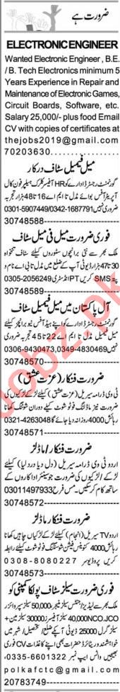 Electronic Engineer & Customer Relation Officer Jobs 2020