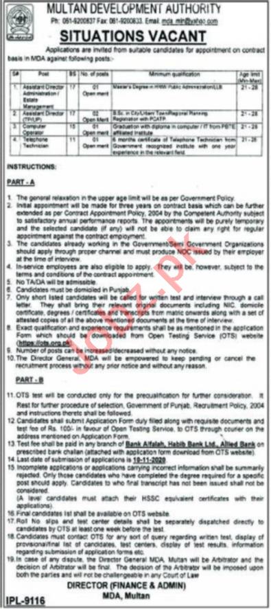 Multan Development Authority MDA Jobs 2020 for Directors