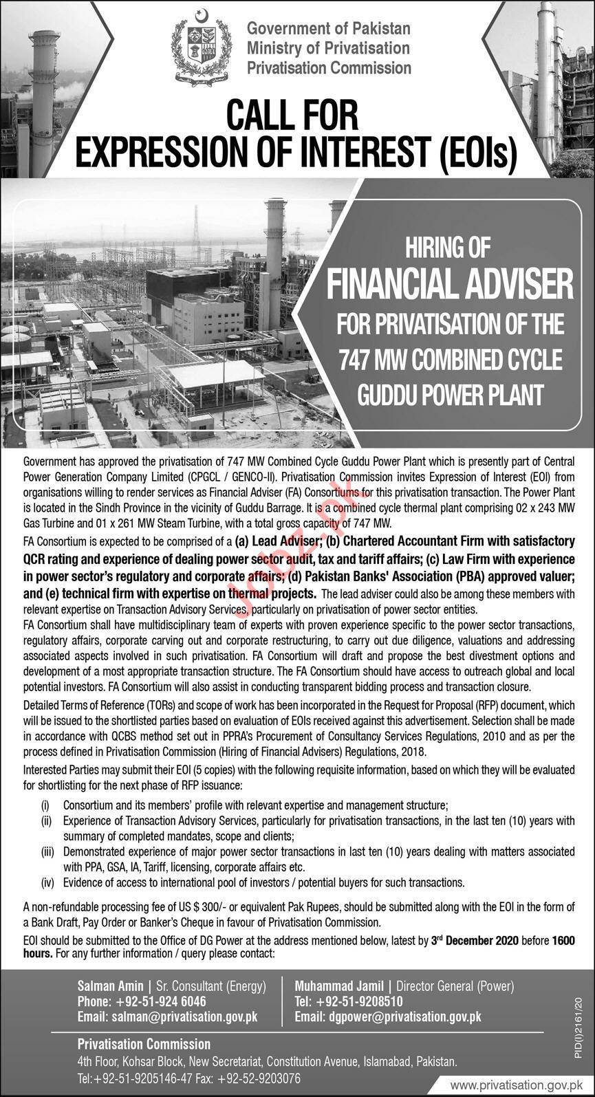 Privatisation Commission PC Islamabad Jobs Financial Advisor