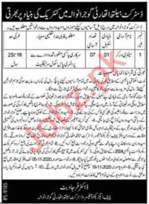 DHQ & THQ Hospitals Gujranwala Jobs 2020 for Sweeper
