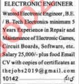 Engineer & Electronics Engineer Jobs 2020 in Lahore