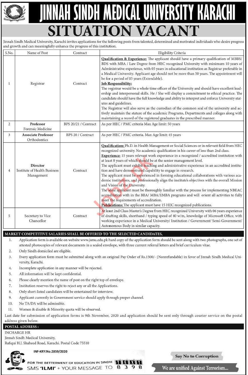 Jinnah Sindh Medical University JSMU Jobs 2020 for Registrar