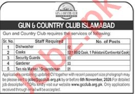 Gun & Country Club Islamabad Jobs 2020 for Cooks & Mali