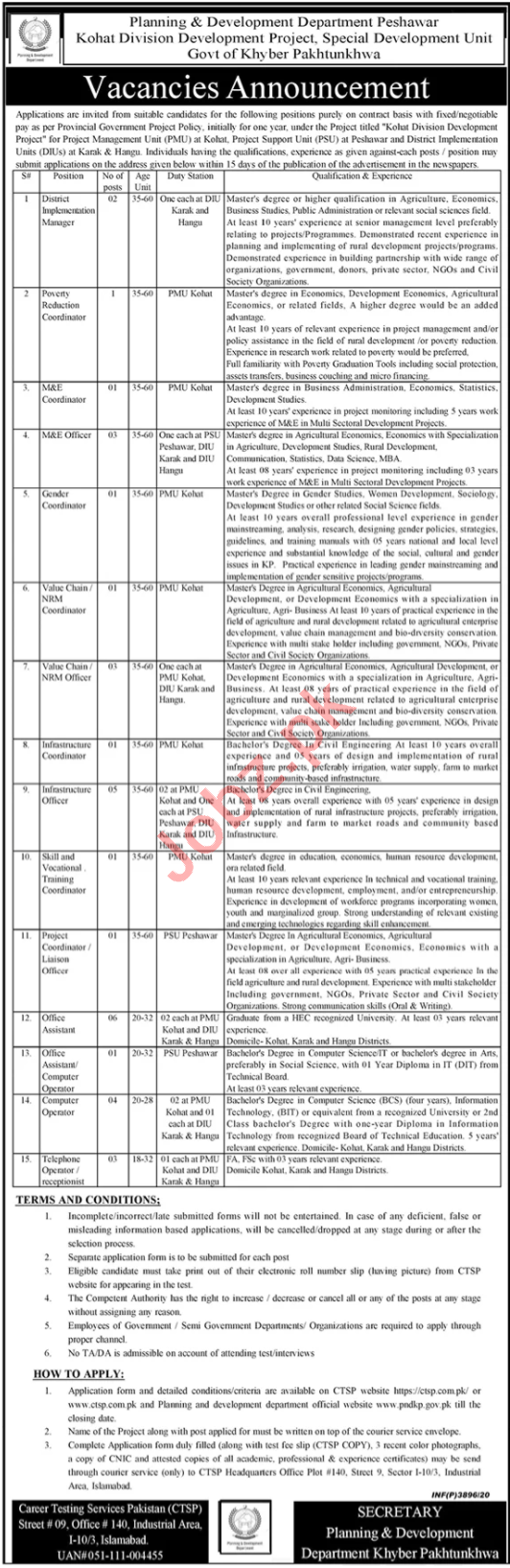 Special Development Unit P&DD KPK Jobs 2020