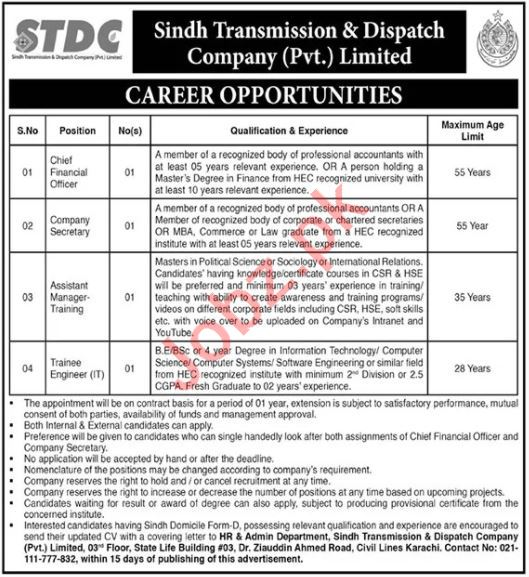 STDC Sindh Transmission & Dispatch Company Jobs 2020