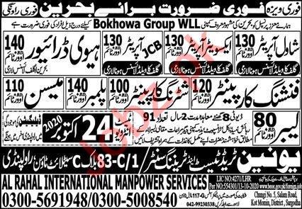 Excavator Operator & JCB Operator Jobs 2020 in Bahrain