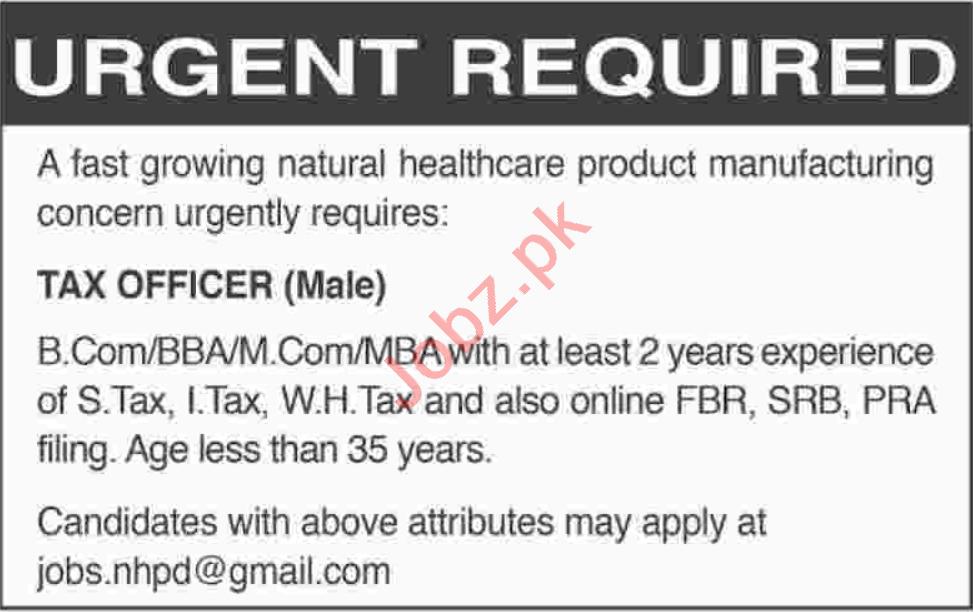 Tax Officer Jobs 2020 in Karachi