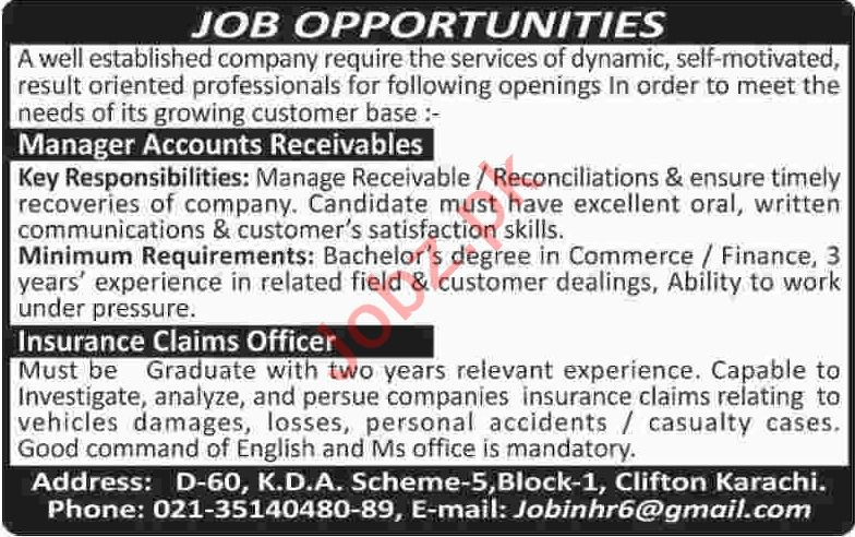 Manager Accounts Receivables & Insurance Claim Officer Jobs