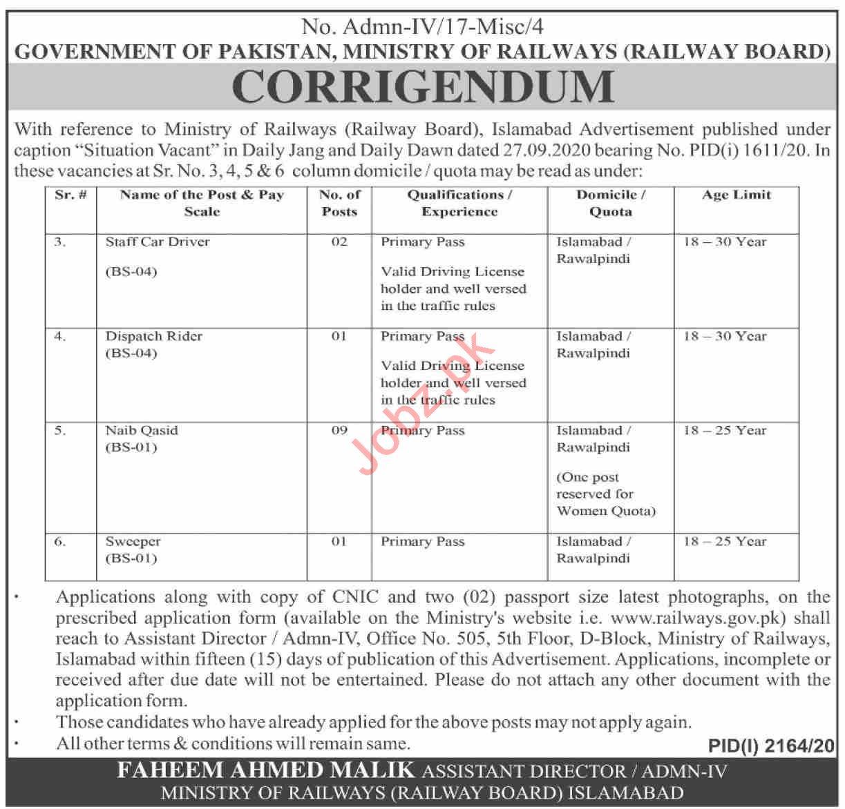 Ministry of Railways Islamabad Jobs 2020 Staff Car Driver