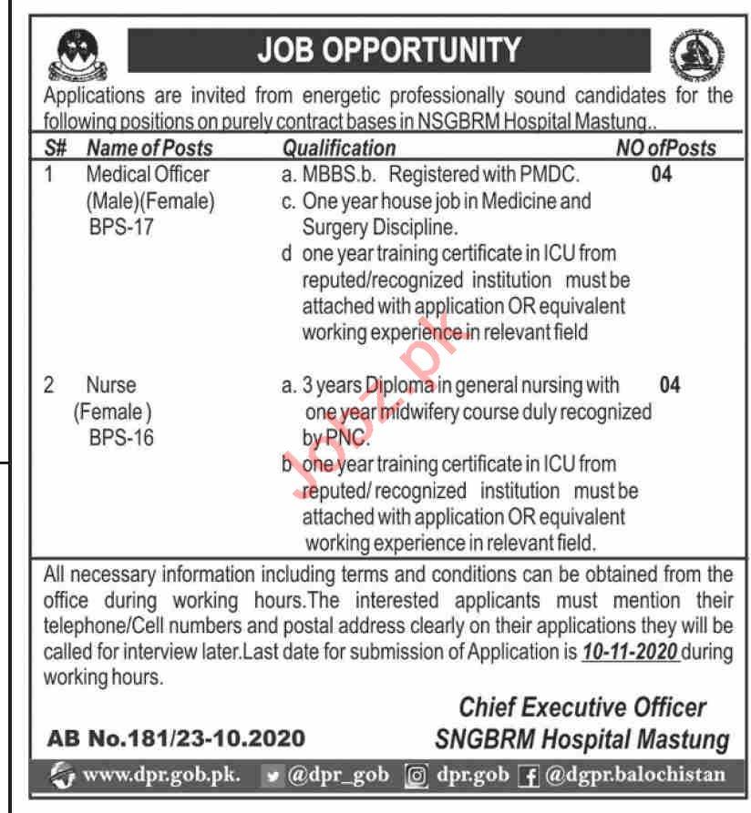 SNGBRM Hospital Mastung Jobs 2020 for Medical Officer