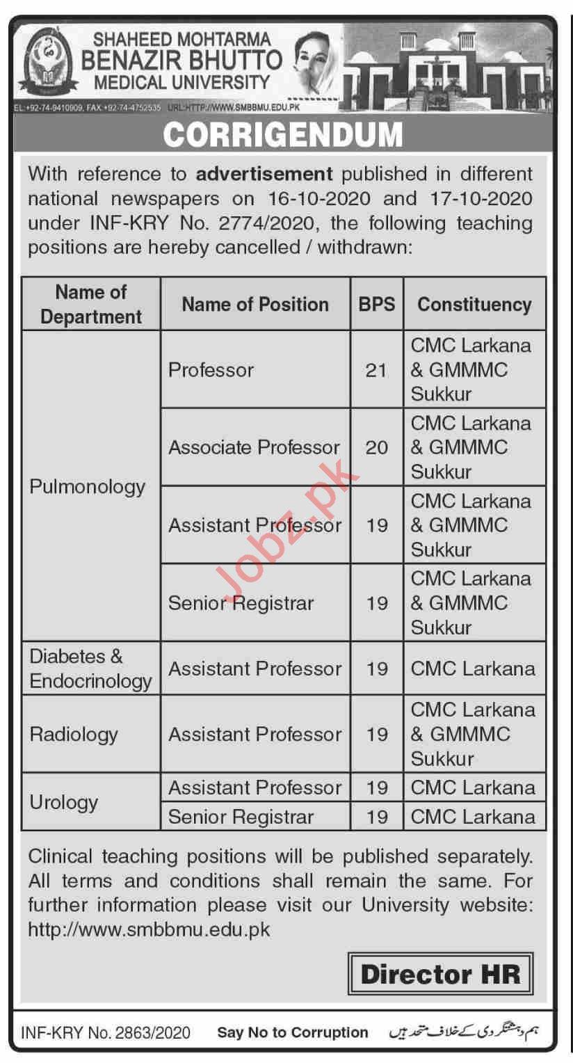 SMBBMU University Larkana Jobs 2020 Professors & Registrars