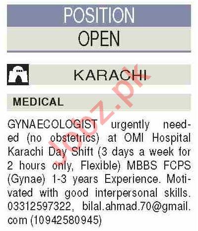 OMI Hospital Karachi Jobs for Lady Doctor & Gynecologist