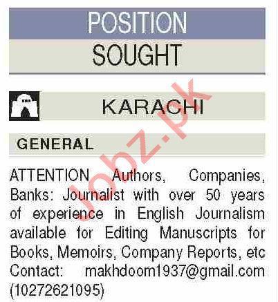 News Reporter & Journalist Jobs Open in Karachi