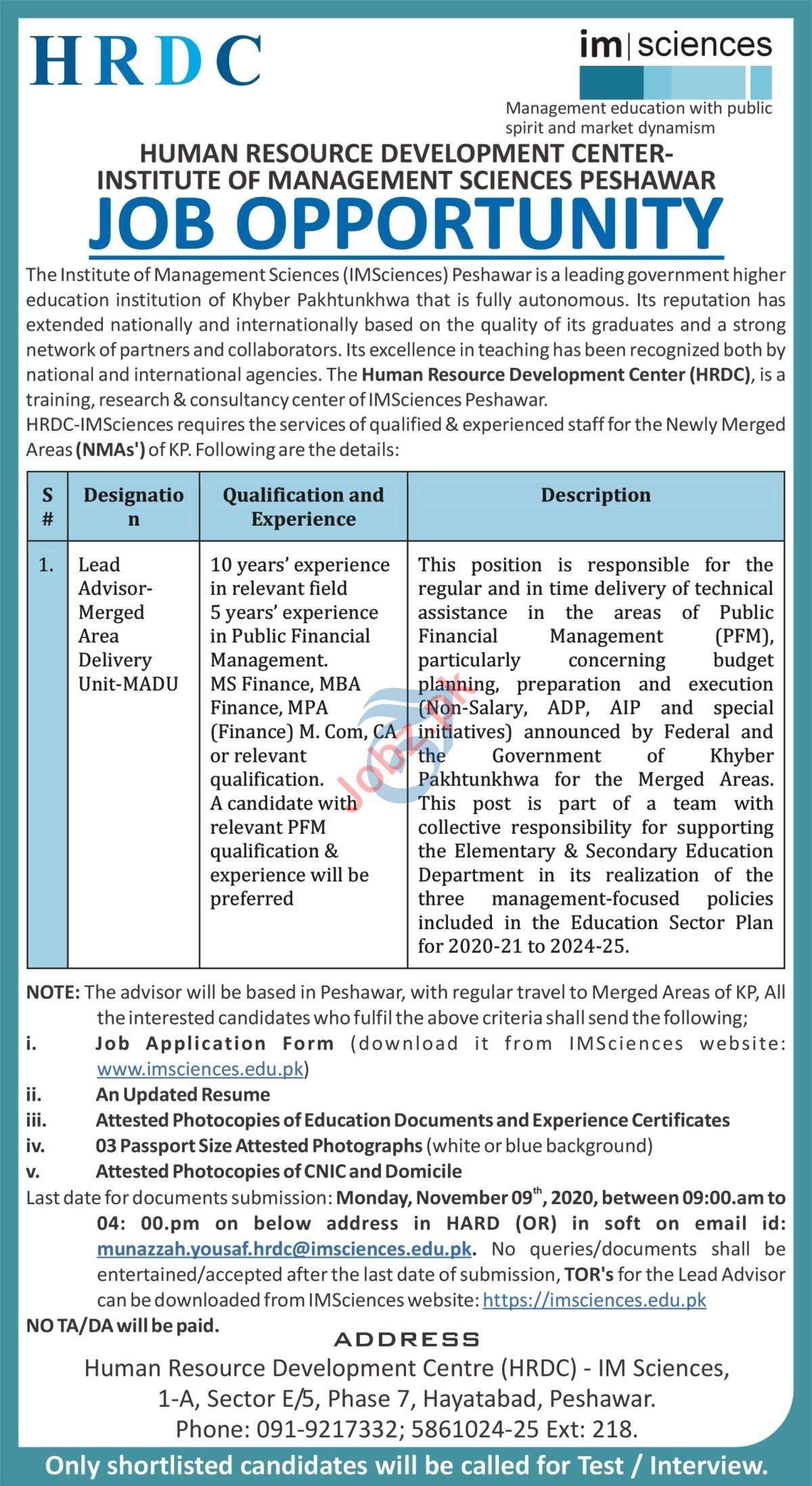 Institute of Management Sciences IM Sciences Peshawar Jobs