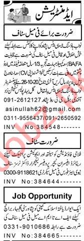 Receptionist & Supervisor Jobs 2020 in Peshawar