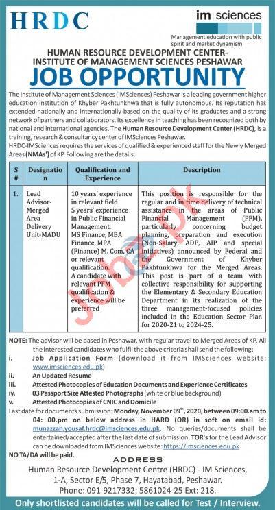 Human Resource Development Center HRDC IM Sciences Jobs