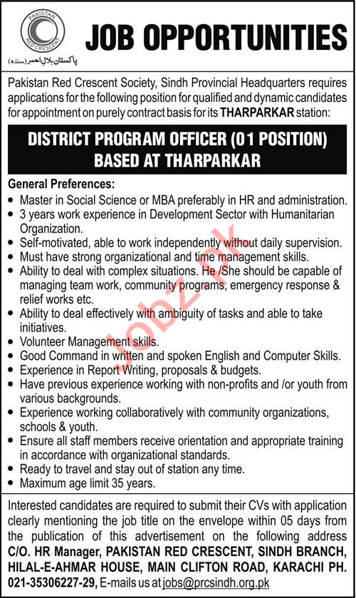 Pakistan Red Crescent Society PRCS Tharparkar Jobs 2020