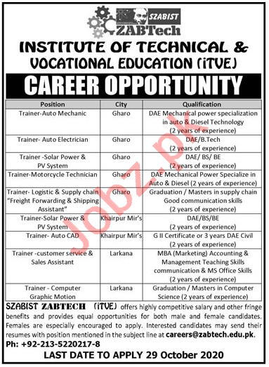 Institute of Technical & Vocational Education iTVE Jobs 2020