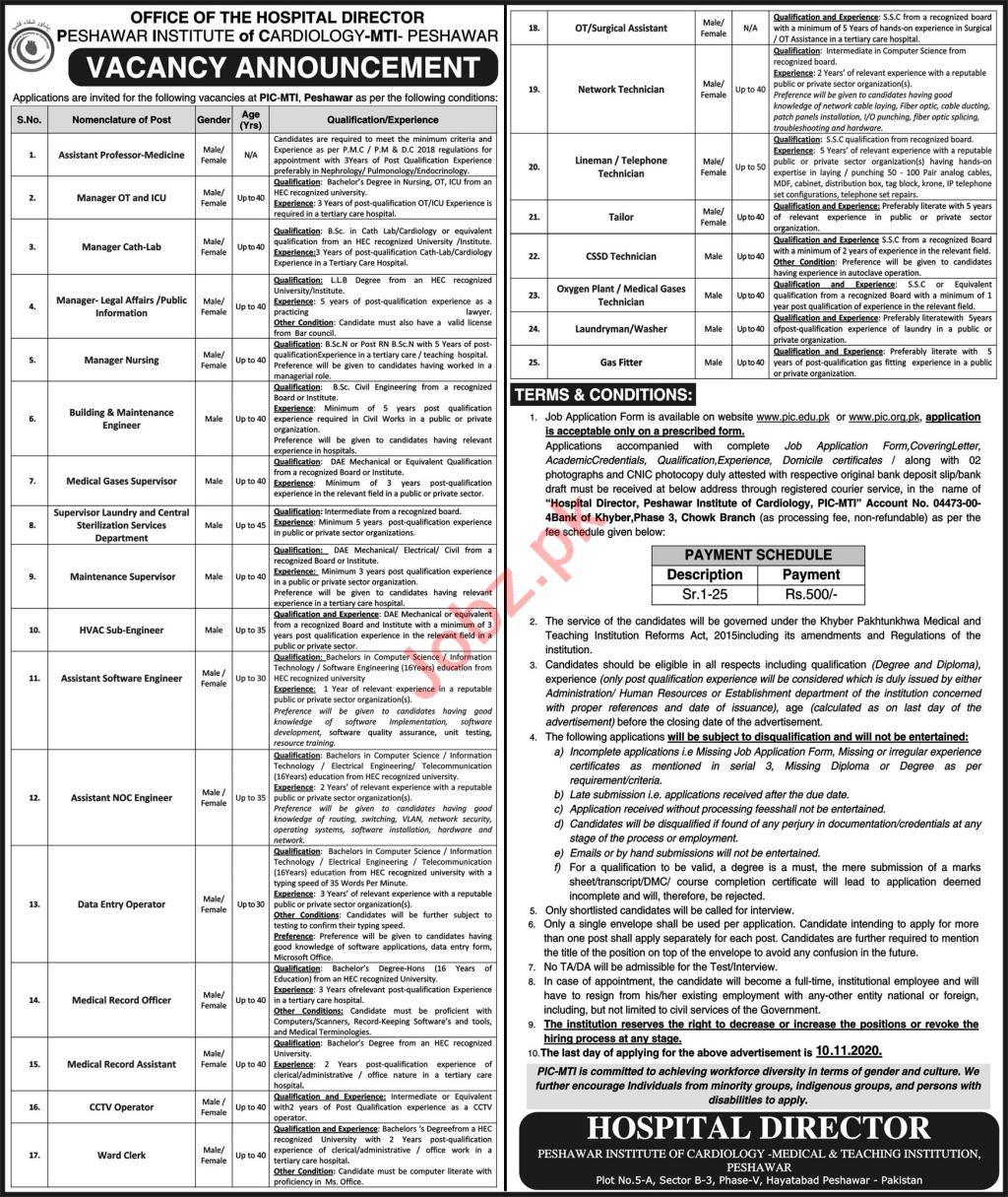 Peshawar Institute of Cardiology PIC MTI Jobs 2020
