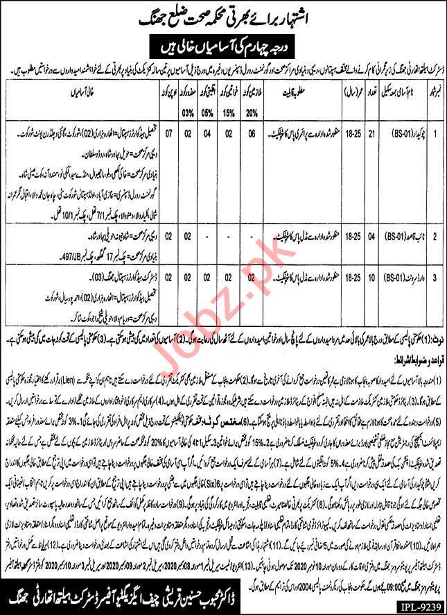 Health Department Jhang Jobs 2020 for Chowkidar & Naib Qasid