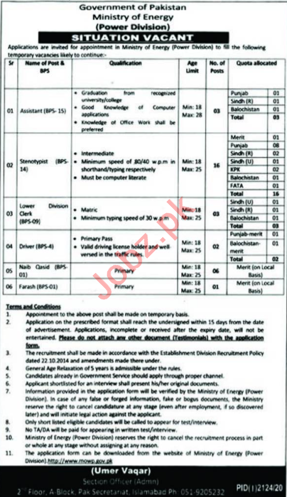 Ministry of Energy Islamabad Jobs 2020 for Driver & Clerk