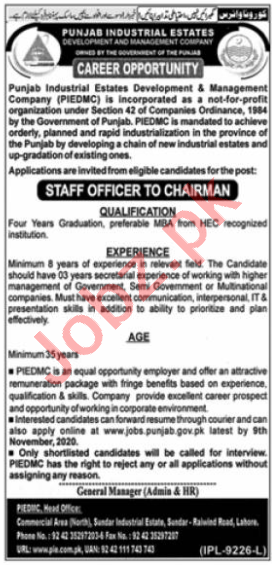 Punjab Industrial Estates PIE Jobs 2020 for Staff Officer