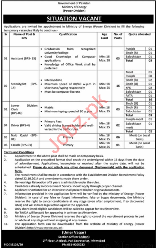 Driver & Clerk Jobs 2020 in Ministry of Energy Islamabad
